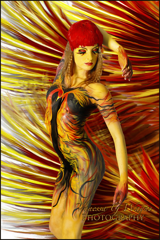 Female model photo shoot of Bodypainter Vanessa Wayne-Edwards and Chiara  in Kennington, London