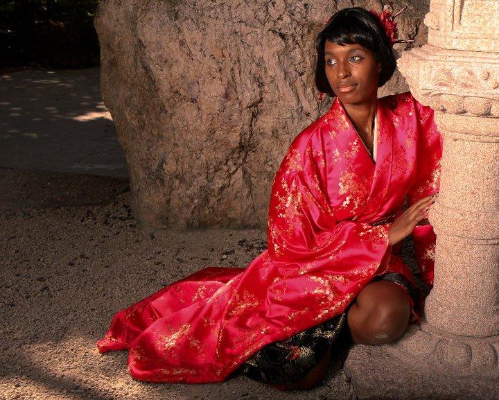 Female model photo shoot of Violet Vivi in Morikami Gardens