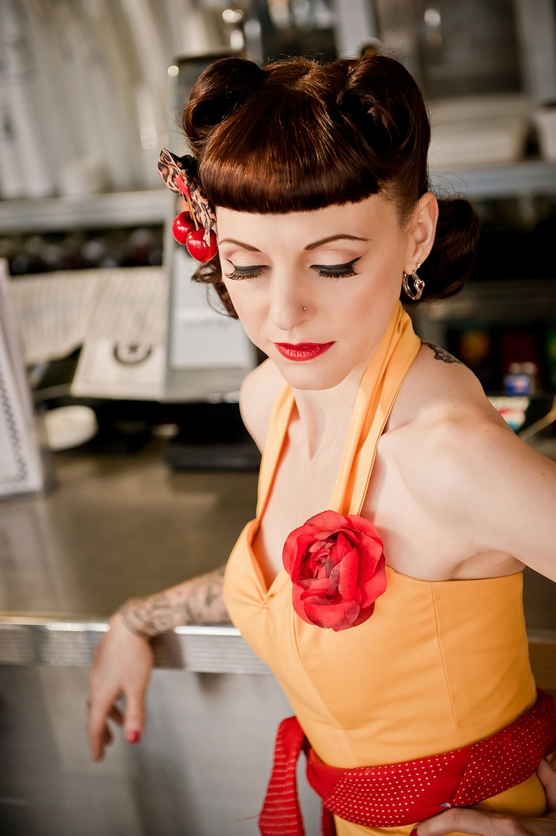 London, United Kingdom Jun 10, 2013 Kat Forsyth 50s Pin Up Diner Shoot