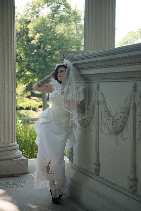 Female model photo shoot of Phoebe Phelpz by Don C Marshall in Graceland Cemetary, Chicago, Illinois