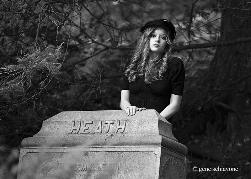Female model photo shoot of Danielle Bessette by Gene Schiavone in Mount Auburn Cemetery