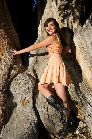 Female model photo shoot of WeetzieWilliams in Patriach Grove, Inyo National Forest, Bishop, Cali