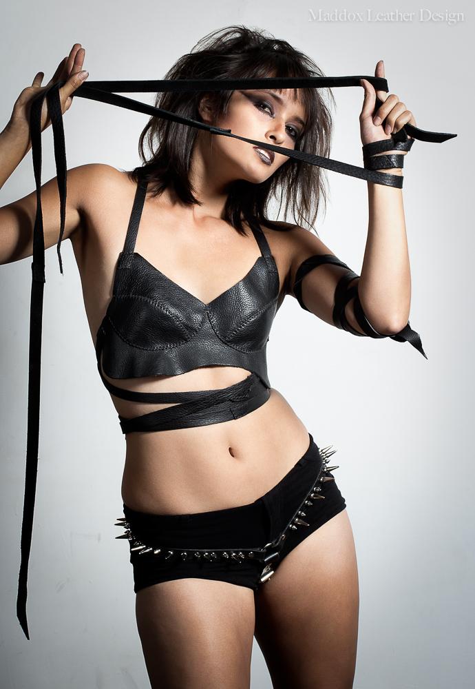 Female model photo shoot of Myla Mae, clothing designed by Maddox Leather Design