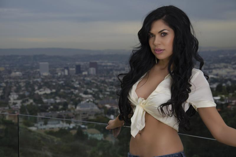 Female model photo shoot of Joann Huizar in Hollywood Hills