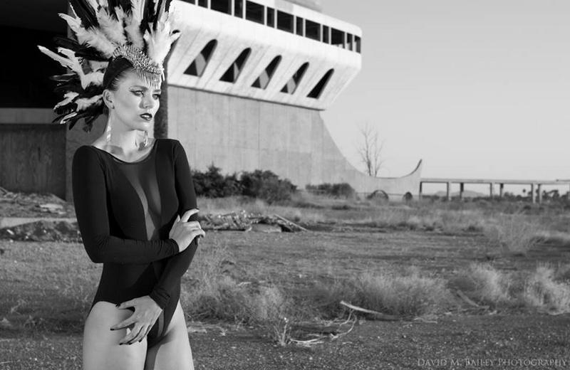 Female model photo shoot of Karla Medina Designs and CaraJean  by David M Bailey, makeup by Karla Medina MUA