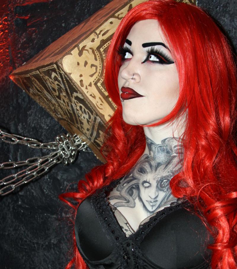 Female model photo shoot of Carolyn Cadaver in Vicious Angelz Tattoo