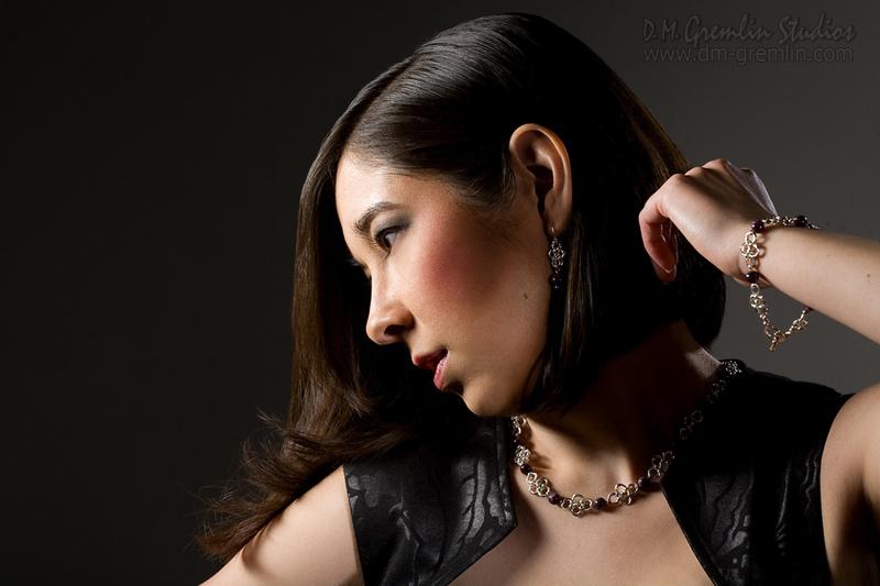 Studio B, D. M. Gremlin Studios, Long Beach CA Jan 21, 2014 2014 D. M. Gremlin Studios Catalog Shoot #2 for Jewelry Maker HuiHui Designs. Model: Allison Okihiro; MUAH: Cristina Garcia; Jewelry by Hui L Rorabaugh.