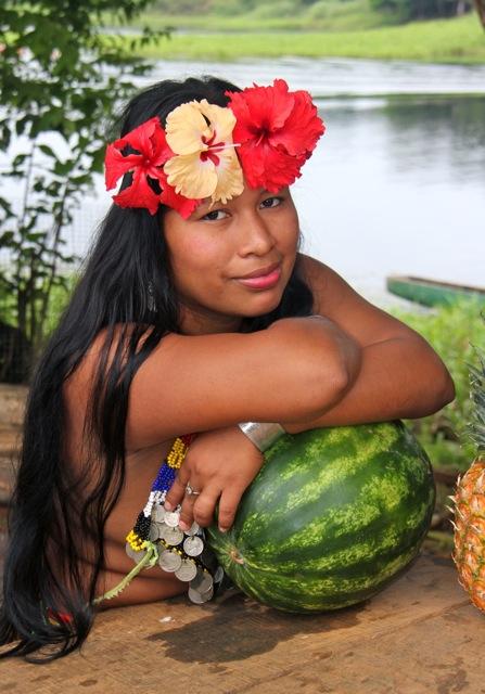 Embera tribal village, Panama  Feb 02, 2014 dennis james photo ART Embera Flower Child, nativo Panamanian Indian at village