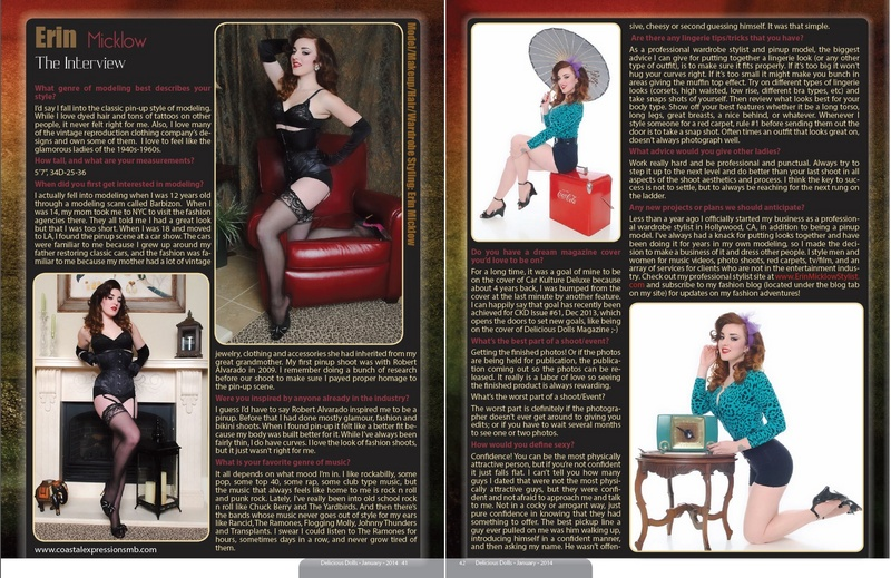 Feb 18, 2014 Cover & 3 page feature of Delicious Dolls Magazine January 2014 | Photos: Coastal Expressions | Model/Makeup/Hair/Wardrobe Styling: Erin Micklow | Custom Corset: Varla Va Voom