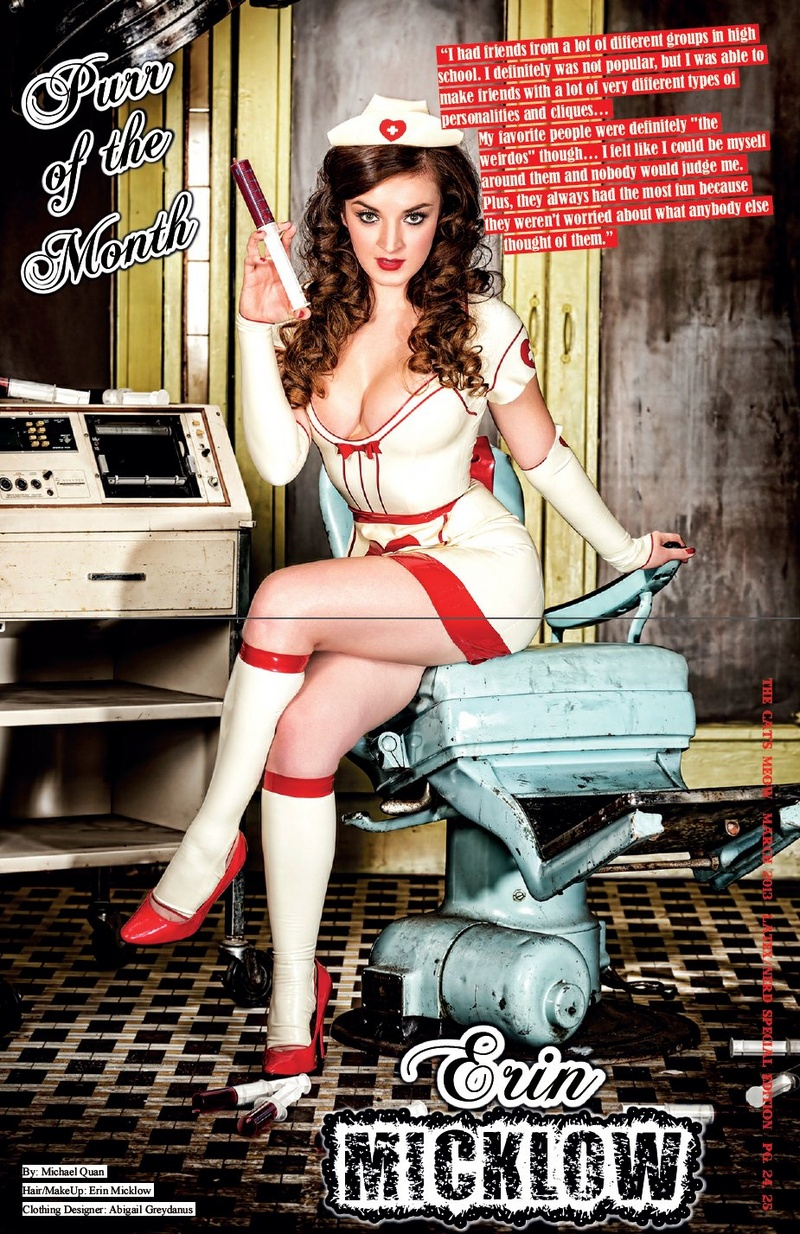 Feb 18, 2014 Cover & 6 page feature in The Cats Meow Magazine Issue #18   Model/Makeup/Hair/Wardrobe Styling: Erin Micklow   Latex: Abigail Greydanus