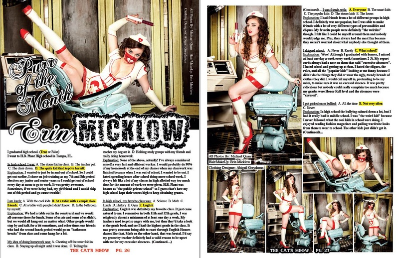 Feb 18, 2014 Cover & 6 page feature in The Cats Meow Magazine Issue #18 | Model/Makeup/Hair/Wardrobe Styling: Erin Micklow | Latex: Abigail Greydanus