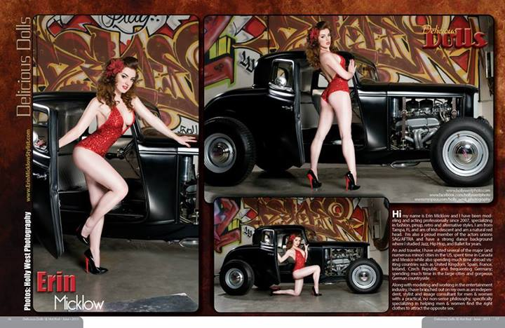 Feb 18, 2014 2 page feature in Delicious Dolls Magazine June 2013, Hot Rod Issue | Photos: Holly West Photography | Model/Wardrobe Styling: Erin Micklow | Makeup: Angel Jagger | Hair: Liz Carrillo