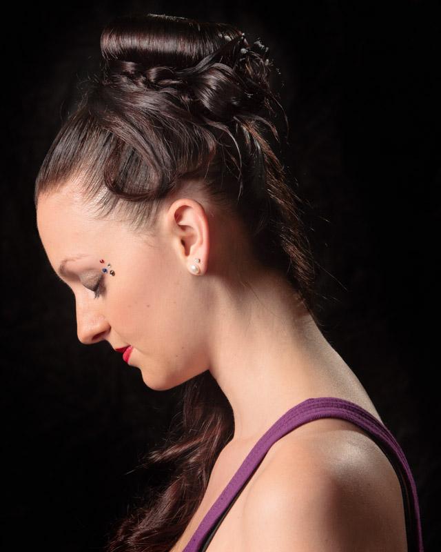 Female model photo shoot of RLKs Unique Orchid in Gene Allen's Hair Studio