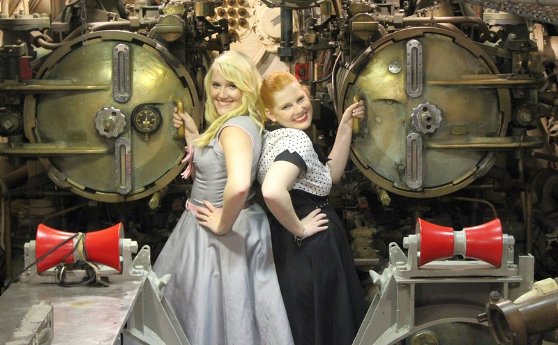 Male and Female model photo shoot of unfolding imagery and Vintagegal007 in USS Batfish museum