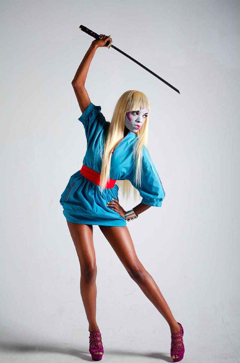 Female model photo shoot of Domestic Doll