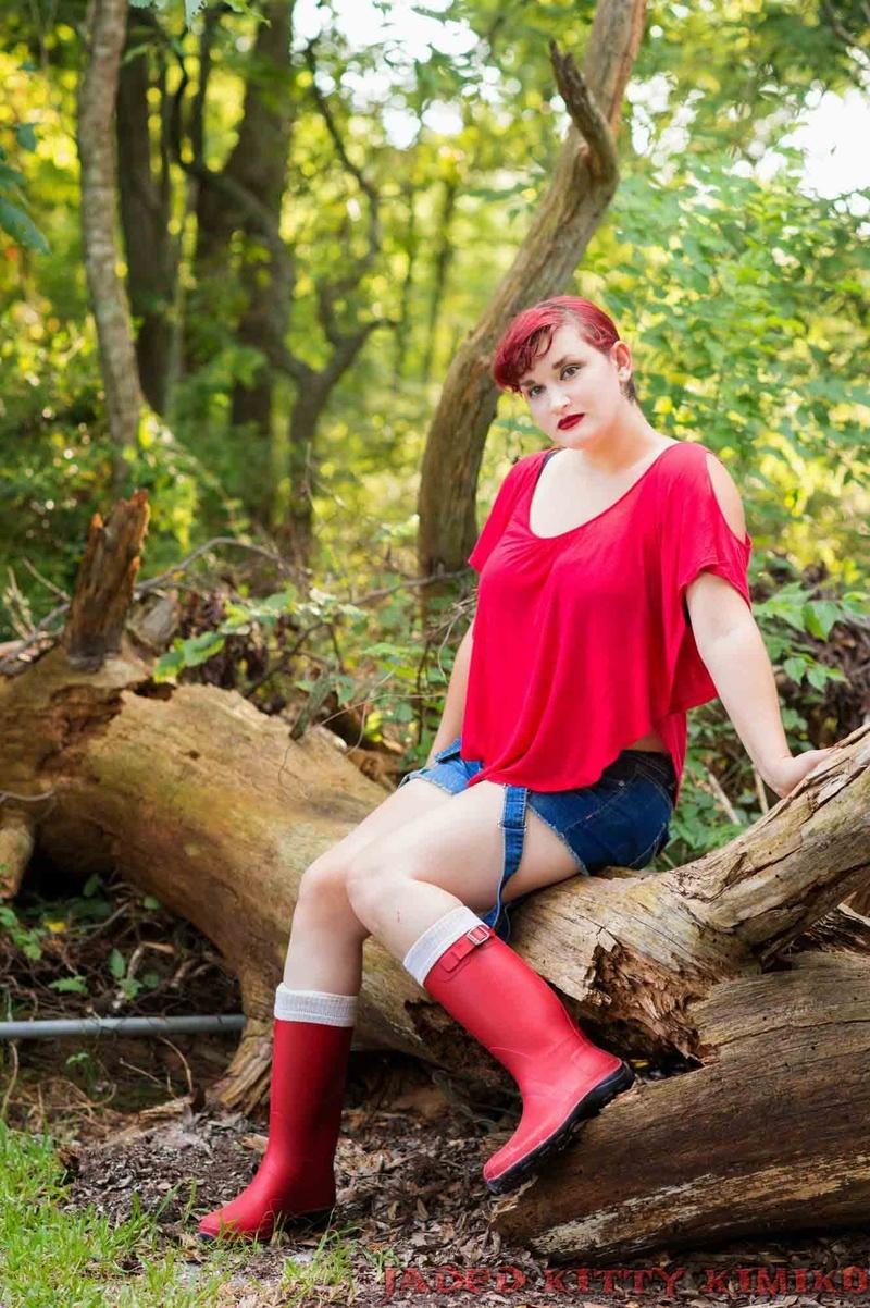 Female model photo shoot of Jaded Kitty Kimiko in My Backyard 2014