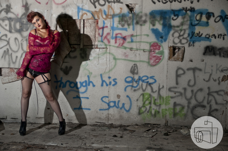 Female model photo shoot of Jaded Kitty Kimiko by Stephanie Quates in Some abandoned place - 2013, makeup by Sarah Stafford Artistry