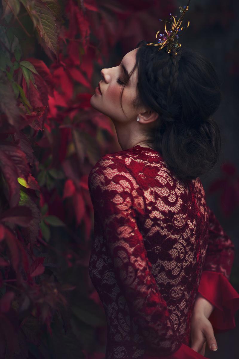 Female model photo shoot of Julia Ramirez by Emily Soto in Ireland, wardrobe styled by Yanina Nikitina, clothing designed by Chantal Mallett Couture