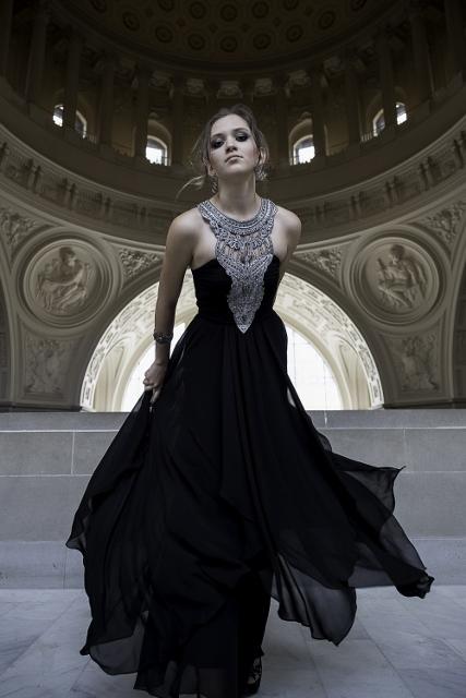 Female model photo shoot of MKNIESL in San Francisco City Hall