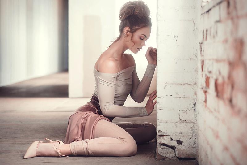 Female model photo shoot of Bernadette Newberry and  Jessi Neidert  in Studio