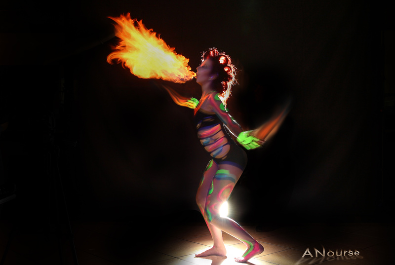 Nov 20, 2016 Fire blowing black light body painting light painting.