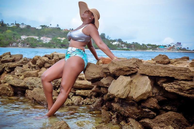 Male model photo shoot of Beach Bling Swimwear in The Caribbean