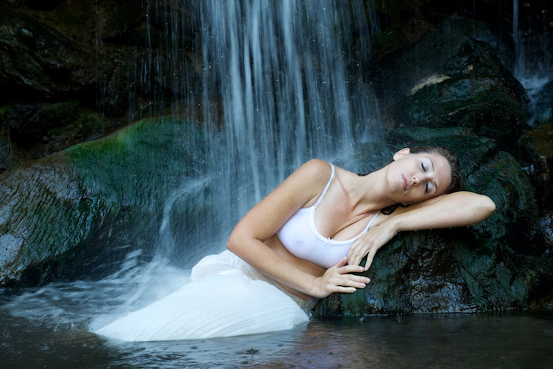 Male and Female model photo shoot of SF Valley Photo and Amanda Dawn Harrison in Waterfall