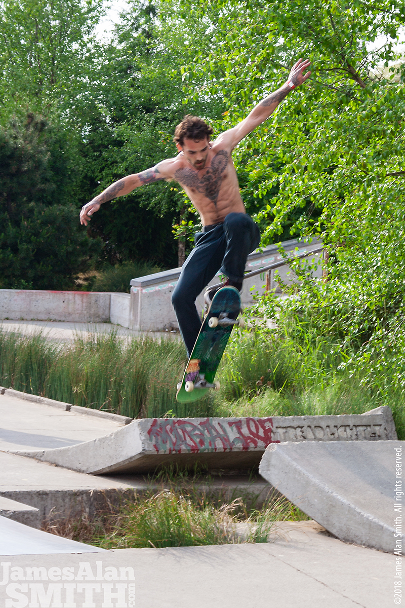 Ed Benedict Skatepark in Portland Jul 21, 2018 ©2018 by James Alan Smith. All rights reserved. Skater at Collegiate Skate Tour