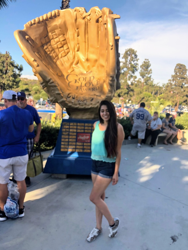 Female model photo shoot of PrincessReyy in Dodgers stadium