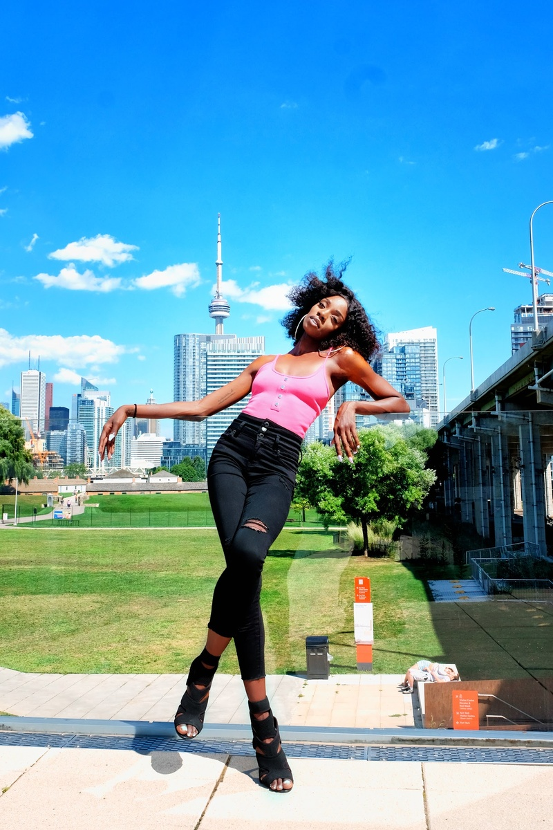 Female model photo shoot of NikkiSweetz in The CN Tower