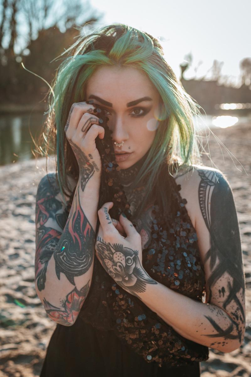 Female model photo shoot of Slim Suicide