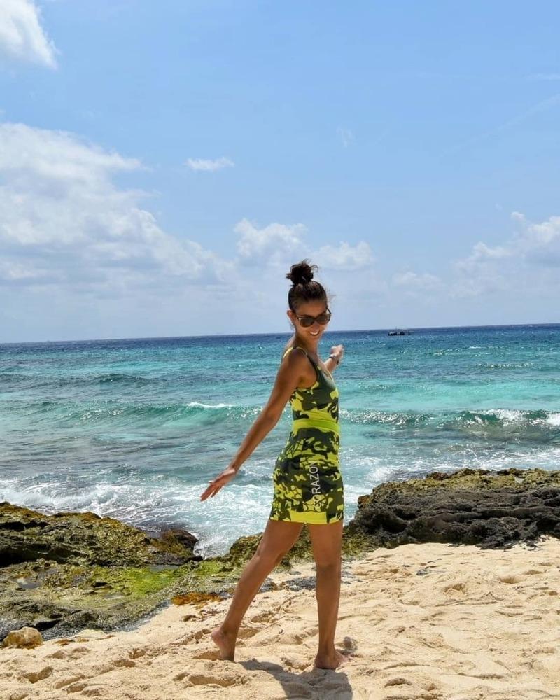Female model photo shoot of Corazon Company in Playa Del Carmen, Mexico